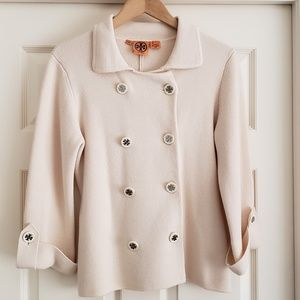 TORY BURCH Cream Sweater Jacket - Size M